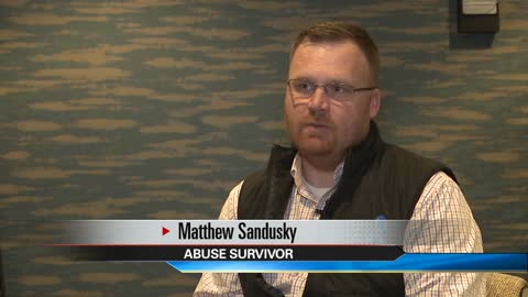 Child sexual abuse victim Matthew Sandusky speaks at the Century Center